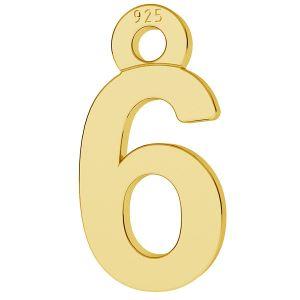 Cifră număr 6 pandantiv, LK-0711 - 0,50