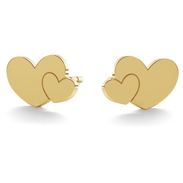 Dublă inimă cercei 14K aur LKZ-00702 KLS - 0,30 mm