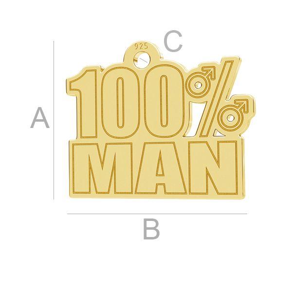100% Man pandantiv, LK-1181 - 0,50