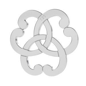 Triquetra inimă rozetă pandantiv, argint 925, LK-1260 - 0,50