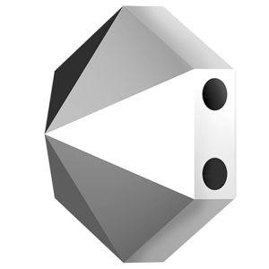 Hexagon Spike Bead, Swarovski Crystals, 5060 MM 7,5 CRYSTAL LIGHT CHROME