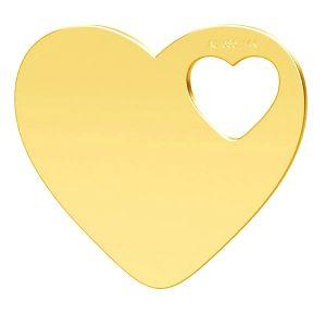 Inimă pandantiv, 14K aur, LKZ-01304 - 0,30