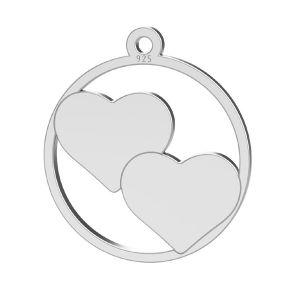 Inimă pandantiv, sterling argint 925, LK-1367 - 0,50