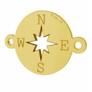 Busolă pandantiv, 14K aur, LKZ-01318 - 0,30