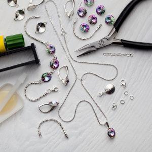 DIY brătară, argint 925, Swarovski, DIY with SILVEXCRAFT  NO.02001