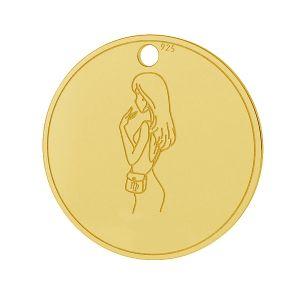 Fecioară pandantiv zodiac, argint 925, LK-1452 - 0,50