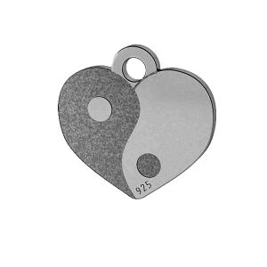 Yin Yang inimă pandantiv, sterling argint 925, LK-1479 - 0,50