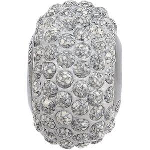 84501 BeCharmed Pavé Ceramics Bead - Marbled Light Grey