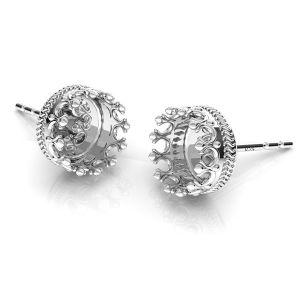 Cercei coroană pentru răsină, argint 925, ODL-00680 KLS
