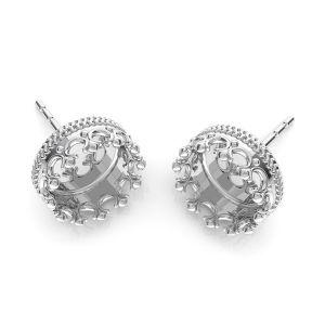 Cercei coroană pentru răsină, argint 925, ODL-00681 KLS