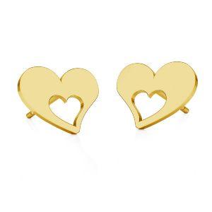 Inimă cercei, sterling argint 925, KLS LKM-2357 - 0,50 8,4x8,4 mm