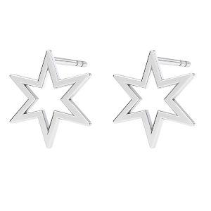 Stea cercei, sterling argint 925, KLS LKM-2371 - 0,50 9,7x10,9 mm