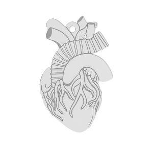 Inimă pandantiv sterling argint, LKM-2370 - 0,50 14x21,6 mm