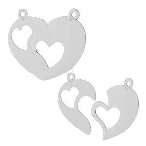 Impărtit inima pandantiv sterling argint, LKM-2046