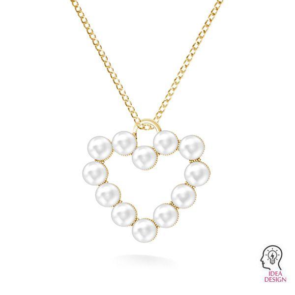 Inimă pandantiv Swarovski pearls, ODL-00789 24x24,5 mm ver.2