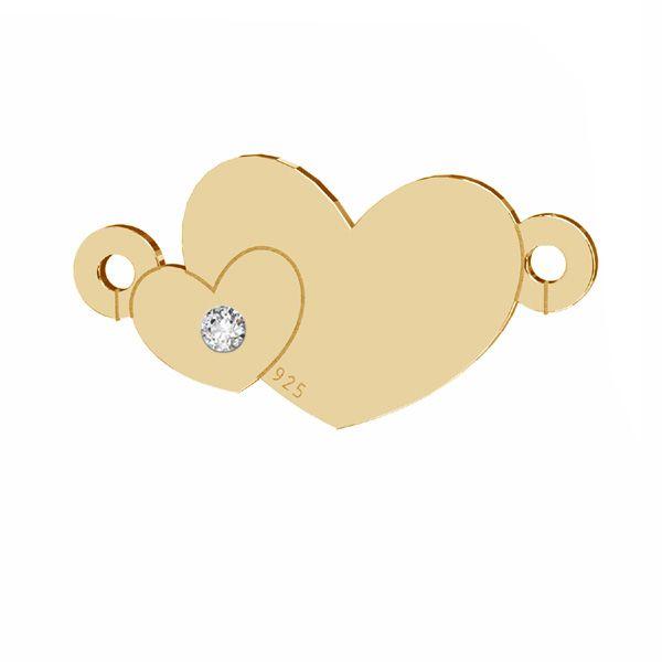 Inimă cu diamant pandantiv, sterling argint 925, LKM-2791 - 0,80 8,7x17 mm (ULTRA SKIN PACK)