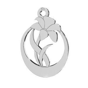 Trandafir pandantiv, sterling argint 925, LKM-2208 - 0,50 14,1x20 mm