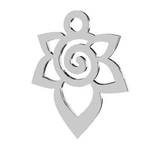 Trandafir pandantiv, sterling argint 925, LKM-2217 - 0,50 12,6x15,6 mm