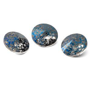 Rundă cristal 12mm, RIVOLI 12 MM GAVBARI METALIC BLUE PATINA